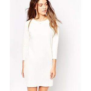 NEW ASOS White Long Sleeve Cut Out Back Dress L